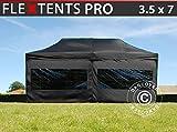 Dancover Tente Pliante Chapiteau Pliable Tonnelle Pliante Barnum Pliant FleXtents Pro 3,5x7m Noir, avec 6 cotés