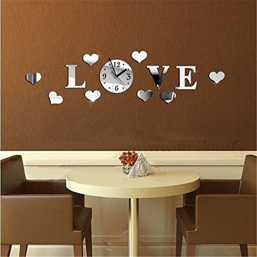 Specchio parete decal progettazione 3D amore muro decalcomanie adesivo arte autoadesivo misto a forma di cuore dot
