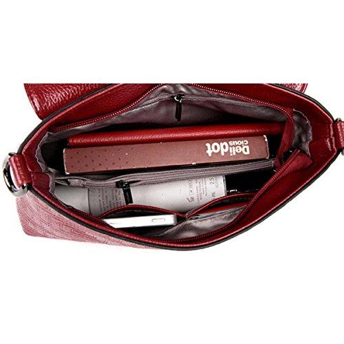Frauen Messenger Bag Europa Und Die Vereinigten Staaten Mode PU Schulter Kleine Square Bag Redwine