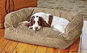 Orvis Comfortfill Couch Dog Bed / Large Dogs 60-90 Lbs., Brown Tweed,