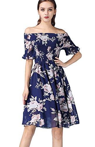 ONECHANCE Frauen-Chiffon- Kurzschluss-Hülsen-Blumen reizvolles beiläufiges Knielänge-Kleid Farbe Marineblau Größe (Exotische Santa Kostüme)