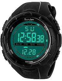 SunJas 5ATM Montre-bracelet de sport étanche à l'eau pour homme avec LCD, fonction chronomètre numérique, date, alarme – Caoutchouc, Schwarz