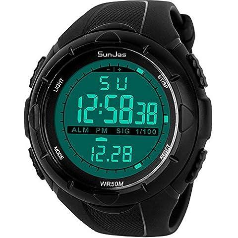 Sunjas 5ATM Men's Waterproof Fashion Watch LCD Digital Stopwatch Chronograph Date Alarm Rubber Sports Wrist Watch, black