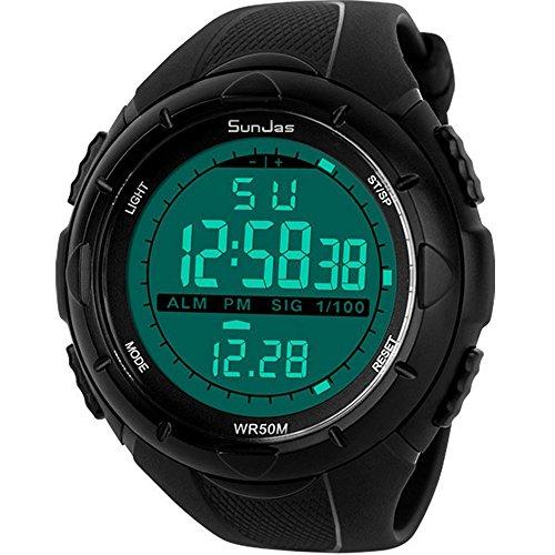SunJas 5ATM Montre-bracelet de sport étanche à l'eau pour homme avec LCD, fonction chronomètre numérique, date, alarme – Caoutchouc