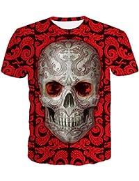 ZKOOO Hombre Suelto T-Shirts 3D Calaveras Impresión Camisetas Manga Corta Vintage Tee Shirt O