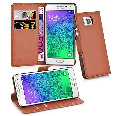 Cadorabo - Book Style Hülle für Samsung Galaxy ALPHA (G850F) - Case Cover Schutzhülle Etui Tasche mit Standfunktion und Kartenfach in SCHOKO-BRAUN