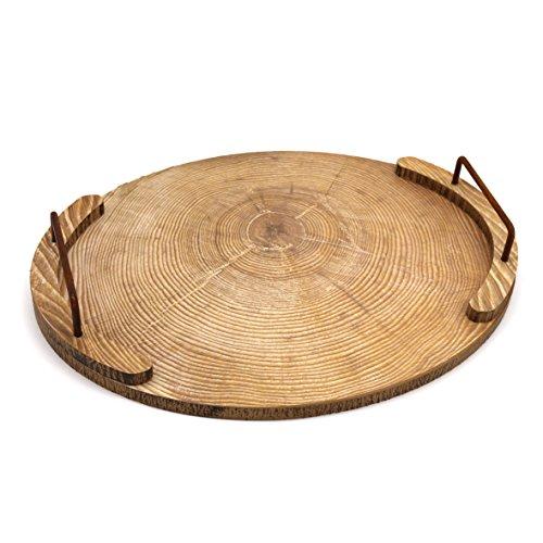 CVHOMEDECO. Oval bandeja de madera con asa de metal madera bandeja para servir de vajilla de comedor, mesa decoración, accesorio de cocina, bandeja de desayuno, mesa de café. 39,4 x 29,8 x 6 cm