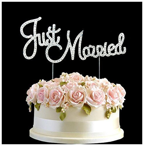 Strass Kristall Just Married Hochzeit Birthday Cake Topper Nr. Plektrum Happy Birthday Anniversary Diamantenform Dekoration (Strass Married In Just)