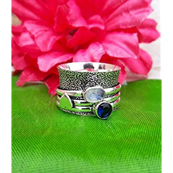 925 Sterling Silber Spinning Band Ring, Mondstein Spinner Ring, oxidiert Ring, Herz Designer Ring für Frauen