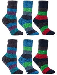 HEAT HOLDERS - 6 pares niño antideslizantes calcetines termicos gruesos para casa