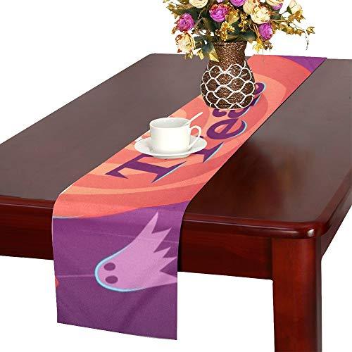 YSJXIM Großer Lutscher Halloween Poster Karte Tischläufer, Küche Esstischläufer 16 X 72 Zoll für Dinner Parties, Veranstaltungen, Dekor