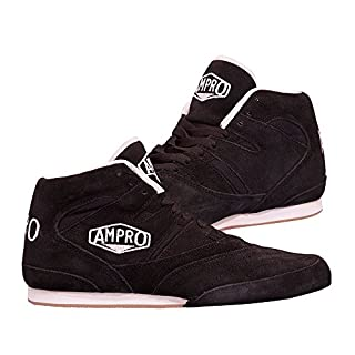 Ampro London Low-Top Boxing Boots -Training / Sparring / Competition / FREE String Bag (Black/Black, 5)