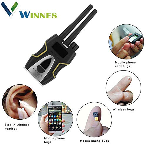 Winnes GPS Detector Hidden Camera Lens Laser GSM Listening Device Finder Radar Radio Scanner, Alarmsignal YA10099, Silber