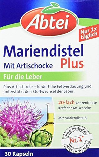 Abtei 43431 Mariendistelöl Plus Artischocke mit Vitamin E Kapseln, 30 Stück