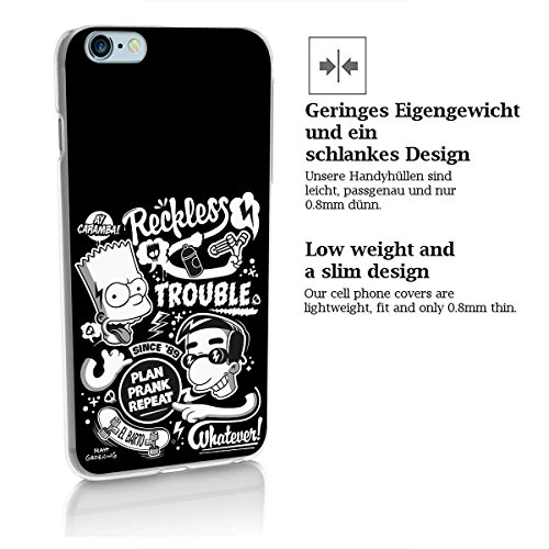 finoo | Iphone 6 Plus / 6S Plus Hard Case Handy-Hülle Simpsons Motiv | dünne stoßfeste Schutz-Cover Tasche mit lizensiertem Muster | Premium Case für Dein Smartphone| Homer Cant Talk Eating Bart Milhouse reckless trouble