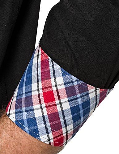 James Tyler Herren Freizeithemd mit Design Details, Slim Fit, bügelleicht Schwarz (Schwarz)