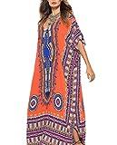 Gudelaa Vestido Estampado Africano Suave de Las Mujeres Robe Encubrir Vestido de Playa Estilo étnico Falda Dashiki Imprimir Vestido de baño Kaftan Vestido Largo Naranja