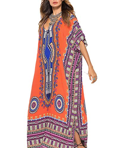 Gudelaa Frauen weichen afrikanischen Print Kleid Robe vertuschen ethnischen Stil Strand Kleid Rock Dashiki Print Kaftan Badeanzug Maxikleid orange Dolman Sleeve-rock
