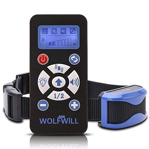 WOLFWILL Wiederaufladbar Hunde Training Halsband Erziehungsband mit Ton und Vibration, Wasserdicht, Garantie,bzw.Deustche Anleitung (Wie Man Strom Machen)