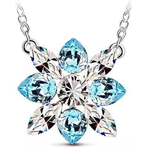 Fiocco di neve collana fiore Sapphire Blue Swarovski Elements cristallo di fascino Donne argento placcato