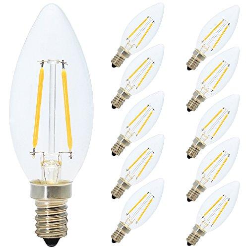 10er Pack E14 2W LED Kerzen Filament Fadenlampe ,200 Lumen, 2700K Warmweiß, 360°Abstrahlwinkel