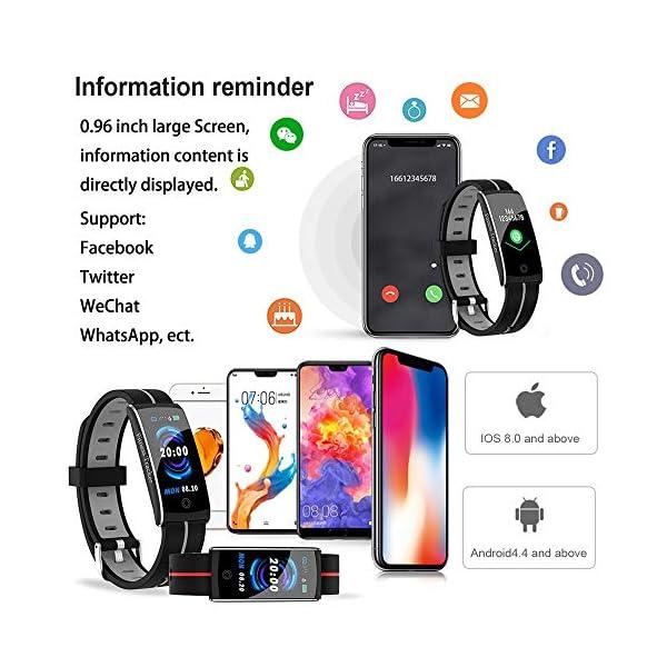 Wysgvazgv Fitness Tracker Reloj pulsera Activity Tracker pulsómetro de muñeca monitor del sueño presión sanguigna IP68… 6