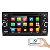 HIZPO Autoradio 17,8 cm 2 DIN avec DVD GPS Bluetooth pour Ford C-Max/Connect/Fiesta/Focus/Fusion/Galaxy/Kuga S-Max/Transit/Mondeo, Noir