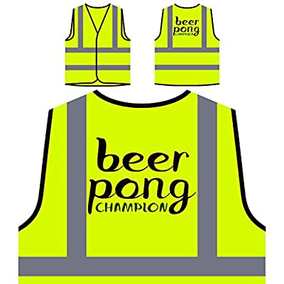Bier Pong Champion Neuheit Personalisierte High Visibility Gelbe Sicherheitsjacke Weste ee59v