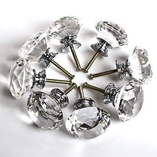 16X 40MM Clear Crystal Glass Door Knobs Diamond Drawer Cabinet Furniture Kitchen