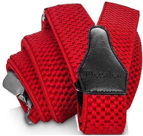 Decalen Hosenträger für Herren breit extra starken 4 cm mit 3er Clips Y Form Lang für Männer und Damen Eine Größe Passt Alle Verschiedenen Farben (Rot)