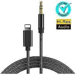 Cable Jack Câble Auxiliaire Voiture pour iPhone 7 [1m] 3,5 mm Jack Stéréo Adaptateur Mâle Male pour Voiture Home stéréo écouteurs Echo Dot 2 MP3 Player Compatible avec 7/7 Plus/X/8/8 Plus-Noir