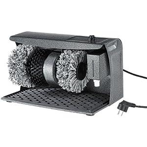 Sichler Haushaltsgeräte Schuhputzmaschine: PROFI Schuhputz-Maschine, Hammerlack, 3 Bürsten, Schuhcreme-Spender (Schuhputzgerät)