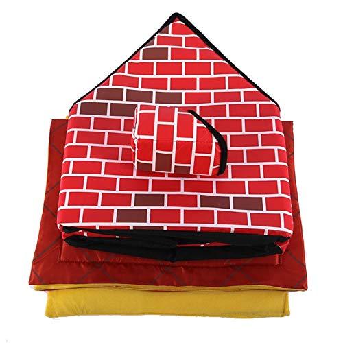 Pudincoco Portable Ziegel Haustier Haus Mit Kamin Warm und Gemütlich Hund Katze Bett Abnehmbar Waschbar Haustier Zelt Für Alle Jahreszeiten (rot)