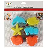 6 Pieces Sea Creatures Shape Non-stick S...
