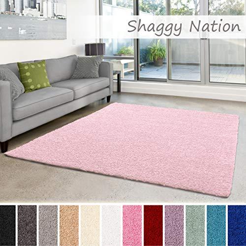 Shaggy-Teppich | Flauschiger Hochflor für Wohnzimmer, Schlafzimmer, Kinderzimmer oder Flur Läufer | einfarbig, schadstoffgeprüft, allergikergeeignet | Zart Rosa - 80 x 150 cm