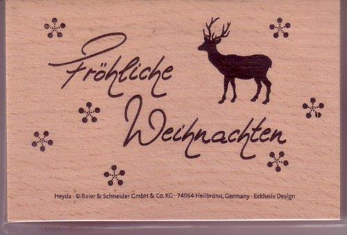 Motivstempel, Holzstempel Fröhliche Weihnachten 8,8 x 5,7 cm