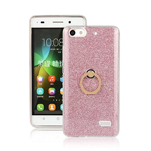 pinlu® Etui Schutzhülle Für Huawei G Play Mini/Honor 4C Soft Silikon TPU Ultra Thin Protective Cover Glitzer Rück mit Abnehmbarer Boden Skin und Ring-Schnalle Design Rosa