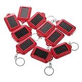 CUHAWUDBA 10X di energia Solare Ricaricabile 3LED Portachiavi Torcia elettrica della Torcia della Luce dell' Nuovo - Rosso