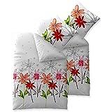 aqua-textil Bettwäsche 4tlg 135x200 Baumwolle Set Kopfkissen Bettbezug Reißverschluss atmungsaktiv Bett Garnitur 80x80 Kissen Bezug Öko-tex Blumen weiß grau rot grün orange 0011758 Trend Ayana