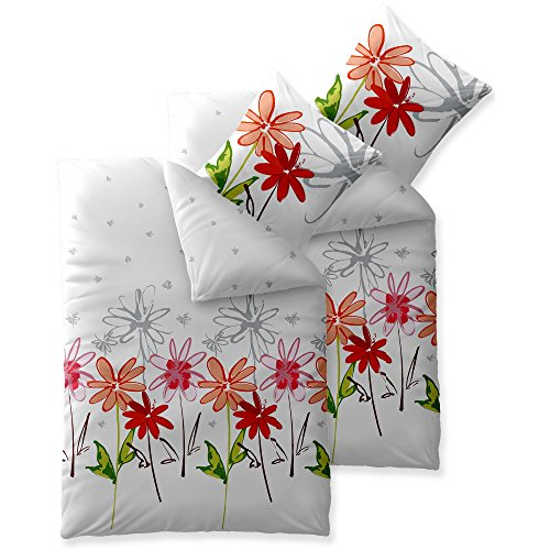 aqua-textil Trend Bettwäsche 135 x 200 cm 4-teilig Bettbezug Baumwolle Ayana Blumen weiß grau rot 0011758 - Rot Bettbezug