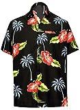 LA LEELA Shirt Camicia Hawaiana Uomo XS - 5XL Manica Corta Hawaii Tasca-Frontale Stampa Hawaiano Casuale Regular Fit Nero1897 M