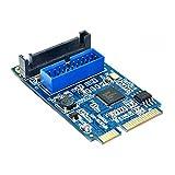 Coomir 1382/5000 Placa Base Mini PCI Express a Dual USB 3.0 Adaptador de Tarjeta de expansión de 19 Pines PCI-E a 2 Puertos USB 3.0 SATA Adapter