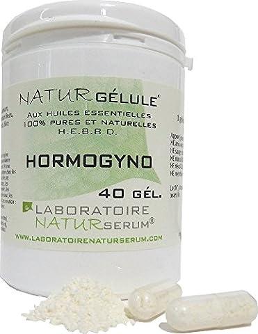 HORMOGYNO NATURGELULE - Bouffees de chaleur - Menopause - 40 gélules végétales aux huiles essentielles pures et naturelles H.E.B.B.D. issues de l'agriculture