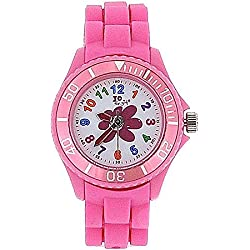 Jo For Girls Analogue Pink Flower Silicone Strap Girls Fashion Watch JW005