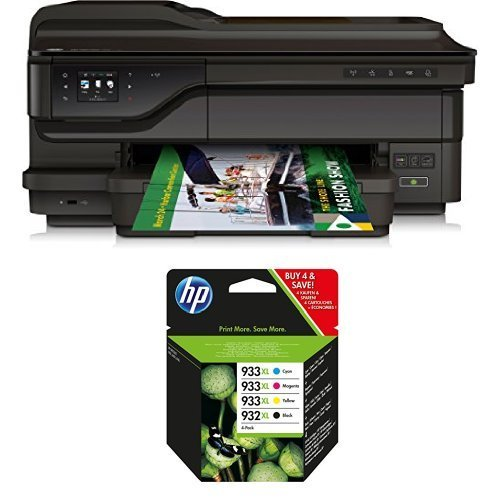 HP Officejet 7612 Pack - Impresora multifunción de tinta + Pack de 4 cartuchos de tinta original XL, negro, cian, magenta y amarillo (933)