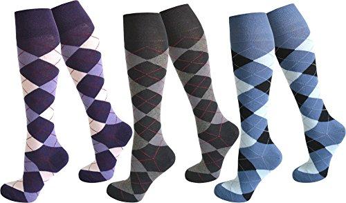 3 Paar Kniestrümpfe für Teenager und Damen im Karo Design Farbe Farbset 1 Größe 35-38