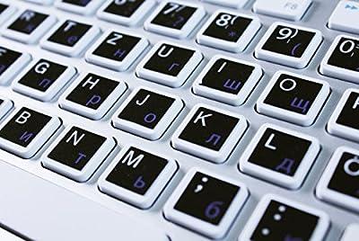Kyrillische Tastatur Aufkleber - russisch für deutsche Tastaturen - Buchstaben inkl. Sonderzeichen - schwarz (russische Tastaturaufkleber, Tastaturaufkleber kyrillisch)