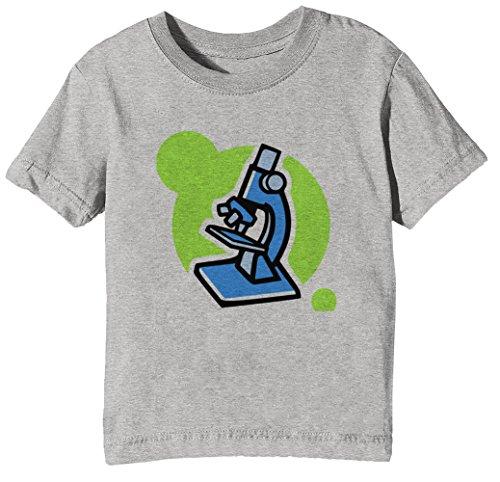 Mikroskop Kinder Unisex Jungen Mädchen T-Shirt Rundhals Grau Kurzarm Größe XL Kids Boys Girls Grey X-Large Size XL