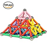 Ukissim 144 PCS - Magnetic Sticks Building Blocks Toys Set, Educational Stacking Toys, Non-Toxic Construction 3D Puzzle Toy for Adults / Kids (Over 6 Years Old)