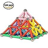 Ukissim 144 Stücke Magnetisch Bausteine, Magnetische Sticks Baustein Spielzeug, Kinder Intelligenz Lernspielzeug und Gehirn Training Set (über 6 Jahre Alt)